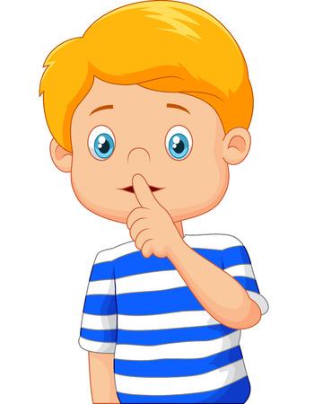 silencio: Muchacho de la historieta con el dedo sobre su boca