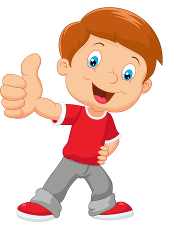 people smiling: Cartoon little boy giving thumbs up