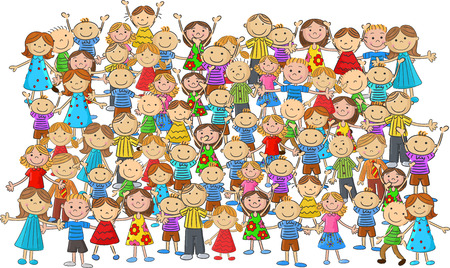 nursery school: Crowd children cartoon Illustration