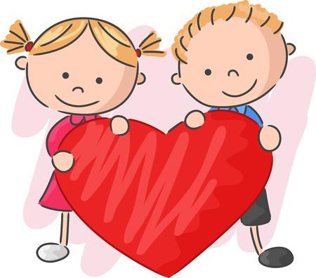 cute couple: Cartoon little kids holding love