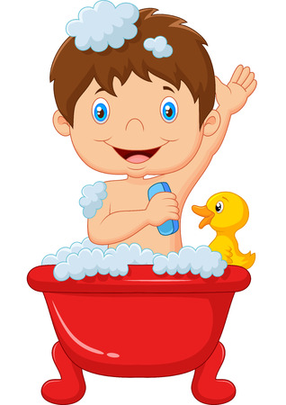 bubble bath: Cartoon child taking a bath