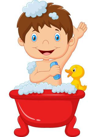 pato caricatura: Cartoon niño tomando un baño Vectores