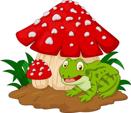 bullfrog: Cartoon frog basking under mushrooms Illustration