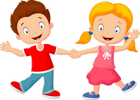 kids holding hands: Cartoon little kids holding hand