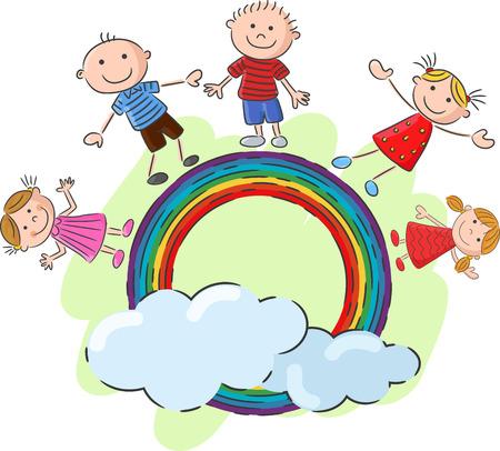 Little kids cartoon standing on the rainbow Çizim