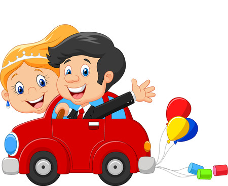 cartoon bouquet: Cartoon Wedding invitation with funny bride and groom on car driving to their honeymoon Illustration
