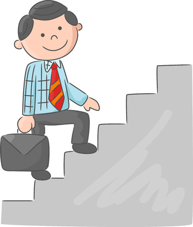 climbing stairs: Cartoon man climbing stairs