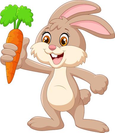 Conejo de dibujos animados feliz celebración de zanahoria