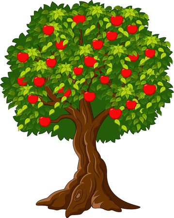 Cartoon Green Apple tree full of red apples i Çizim