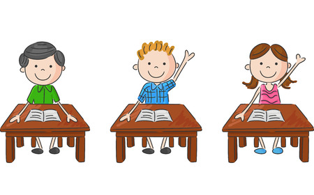 Cartoon school kids sitting on table