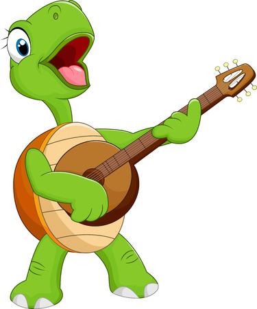 playing guitar: Cartoon turtle playing guitar Illustration