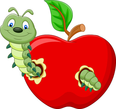 cartoon mascot: Cartoon Caterpillars eat the apple