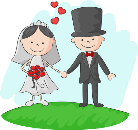 bride and groom illustration: Cartoon Wedding ceremony bride and groom