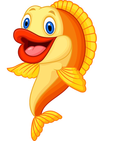 cartoon fish: Cartoon adorable goldfish