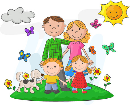male parent: Happy family cartoon against a beautiful landscape