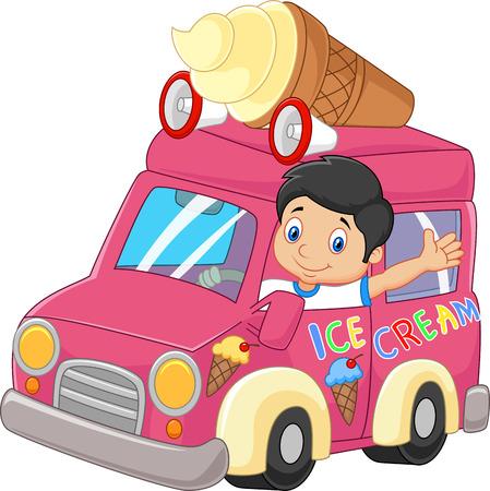 car driving: Cartoon little boy driving car and waving