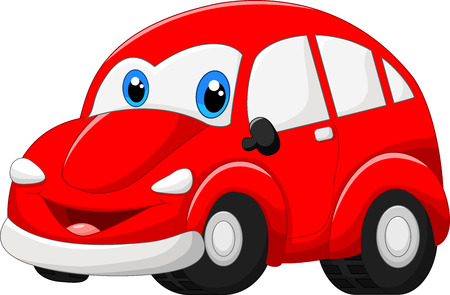 Cartoon rode auto Stock Illustratie