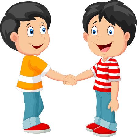 Little boys cartoon holding hand