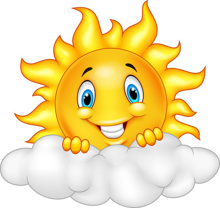 clouds: Smiling Sun Cartoon Mascot Character