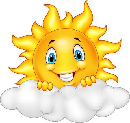 słońce: Smiling Sun maskotka Cartoon Character Ilustracja