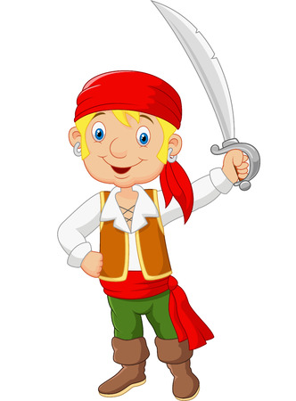 headbands: Pirata de la historieta que sostiene una espada