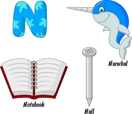 alfabeto con animales: Cartoon N alfabeto Vectores