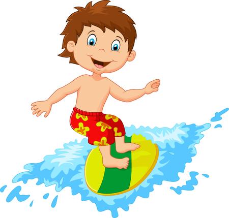 granola: Juego de dibujos animados Ni�os surf en tabla de surf en olas grandes