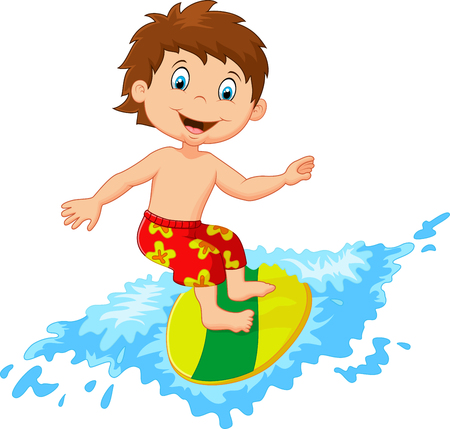 kid smile: Kids cartoon play surfing on surfboard over big wave Illustration