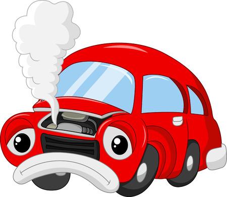 The cartoon car damage so that smoky