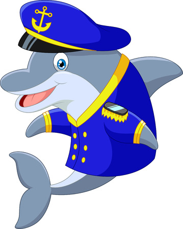 funny fish: Standing little cartoon Dolphin using uniform Captain