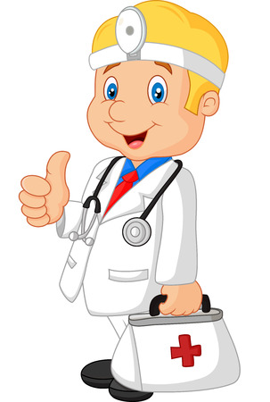 stethoscope boy: Cartoon doctor smiling and gives thumb up
