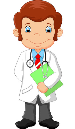 doctor isolated: Cartoon doctor holding blank sign Illustration