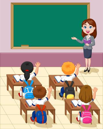 niños sentados: Pequeños niños de la historieta de un estudio en el aula Vectores