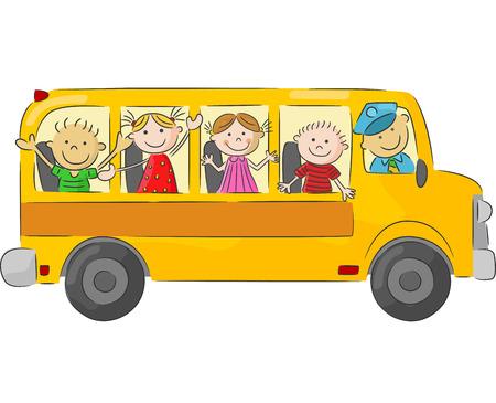 niños estudiando: Los niños de dibujos animados feliz en el autobús escolar