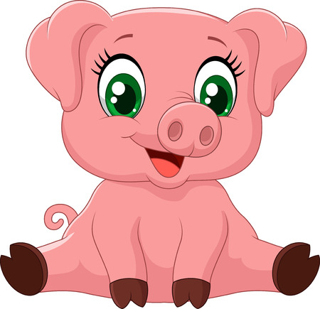 pigs: Cartoon adorable baby pig