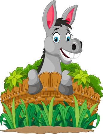 mule: Donkey cartoon holding fence Illustration