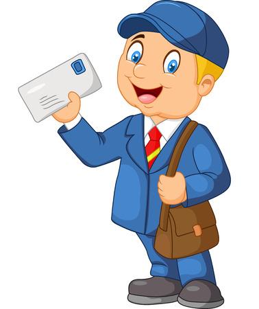 Courrier transporteur de bande dessinée avec le sac et la lettre Banque d'images - 42412798