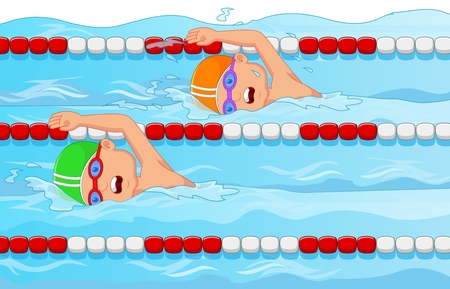 Young swimmer cartoon in the swimming pool
