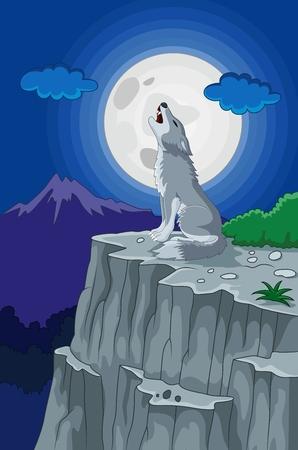 luna caricatura: De dibujos animados lobo aullando bajo la luna llena Vectores