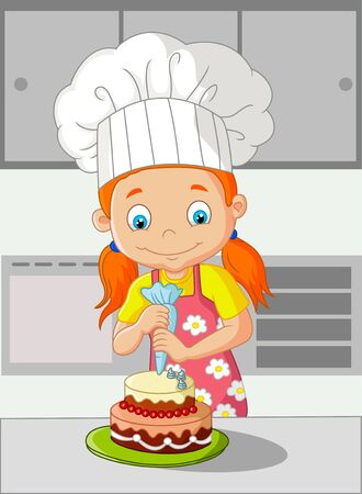 preparing food: Cartoon little girl cooking cake