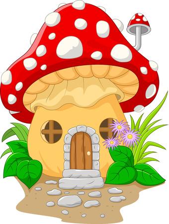 mushroom house: Cartoon mushroom house