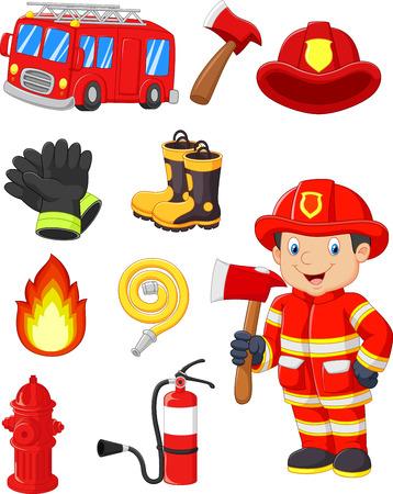 lindo: Equipos contra incendios colecci�n de dibujos animados Vectores