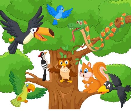 arboles de caricatura: Colección de dibujos animados de animales en los árboles