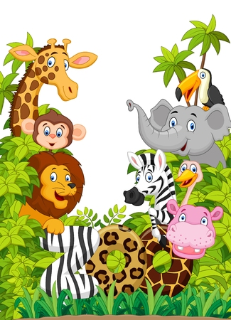 Cartoon collection animal zoo 일러스트