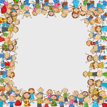 Vector children: trẻ em phim hoạt hình đám đông với một hộp hình không gian trống