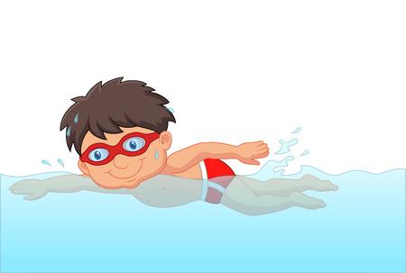 nadar: Cartoon nadador niño pequeño en la piscina