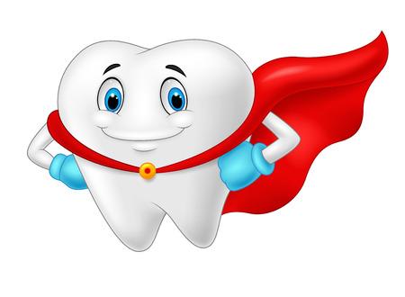 fairy vector: Happy cartoon superhero healthy tooth Illustration