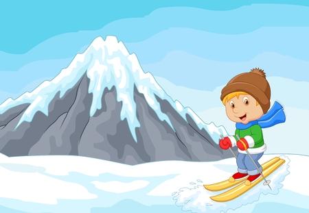 narciarz: Cartoon narciarz ekstremalny wyścig alpejskie wzgórze góry lodowej