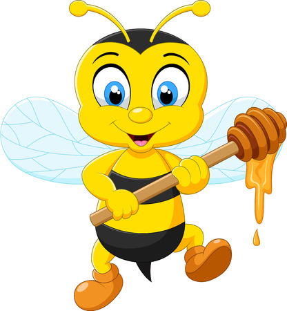 honey bees: Cartoon bee holding honey