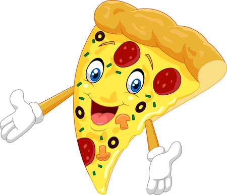 Cartoon pizza waving